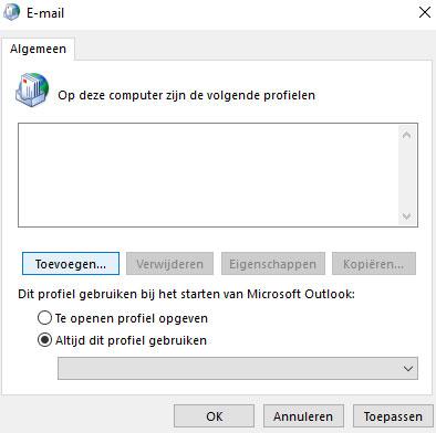 Nieuwe profiel toevoegen Outlook