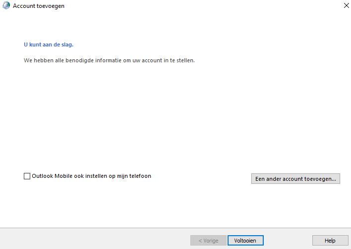 Successcherm toevoegen nieuwe e-mail