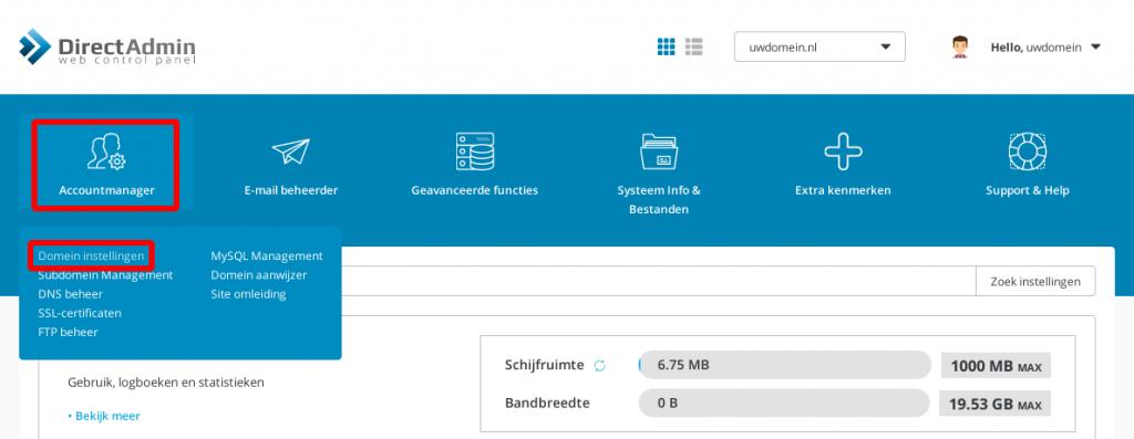 PHP versie aanpassen - domein instellingen