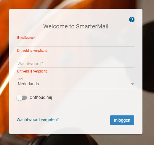 Screenshot SmarterMail login