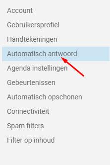 Smartermail Automatisch Antwoord lijst