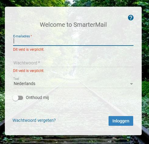 Smartermail login scherm