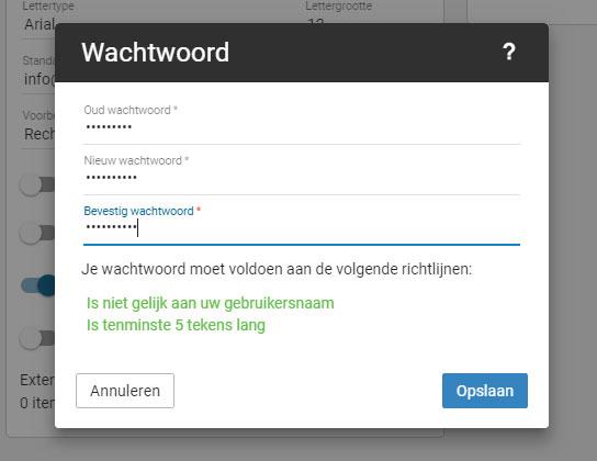 Smartermail nieuwe wachtwoord scherm
