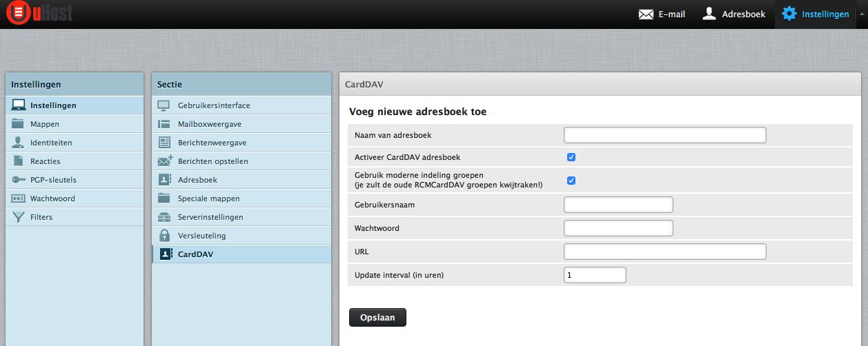 uHost webmail CardDAV