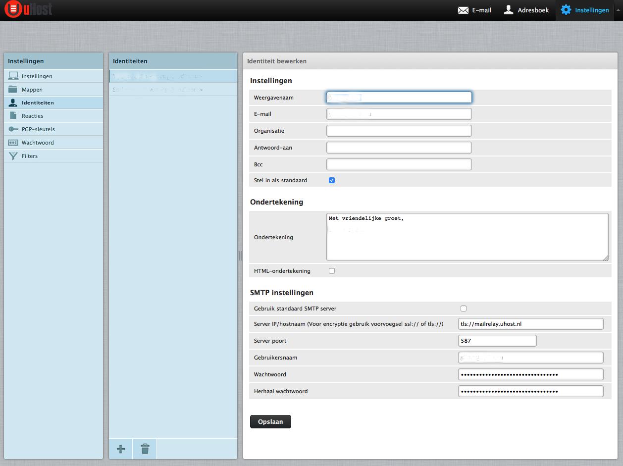 uHost webmail externe SMTP server